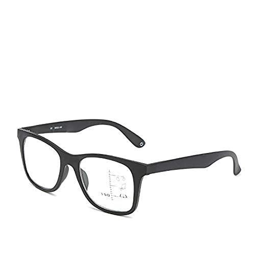 HJJXN Retro-Progressive Multi-Fokus-Lesebrille,Seniorenbrille, intelligenter automatischer Zoom, männliche und alte Dual-Verwendungsbrille, Alter Spiegel (schwarz,300°) - 300 Lesebrille