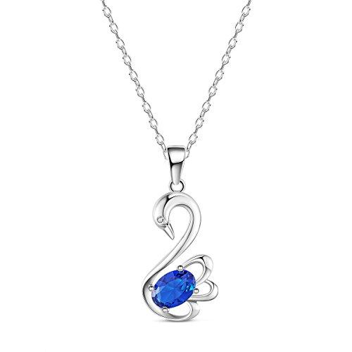 Sweetiee collana da donna in argento 925 ciondolo di cigno con blu aaa zircone, platino, 450mm, 5 colori