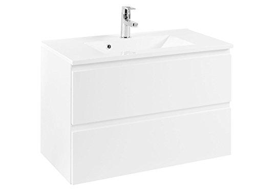"""Waschtisch Waschplatz Waschbeckenunterschrank Unterschrank Schrank Bad """"Cleo I"""" (Korpus-weiß/Front-weiß-Hochglanz, 80 cm)"""