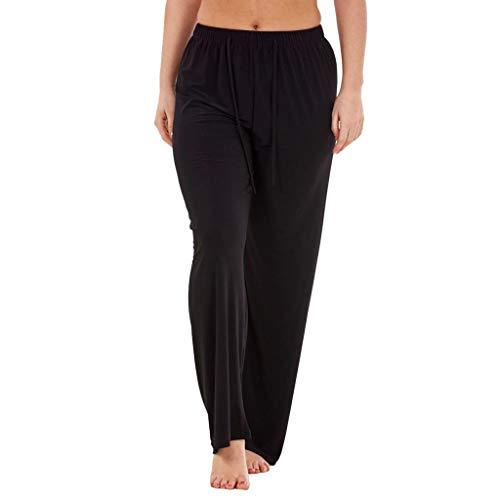 SHUBIHU Damen Yogahose Pilates Elastische Weite Hosen Für Fitness Hohe Taille Regular Lange Hosen Jogginghose Neu 2019 (Schwarz, S) -