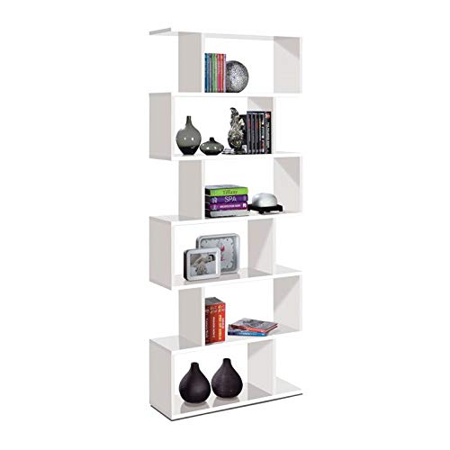 Kit libreria athena cm.80x25x192h bianca parete attrezzata scaffale