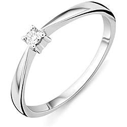 Precioso anillo de pedida de mano en oro blanco