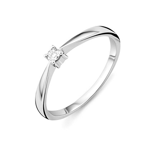 Miore Ring Damen Solitär Verlobungsring  Weißgold 9 Karat / 375 Gold  Diamant Brilliant  0.05 ct