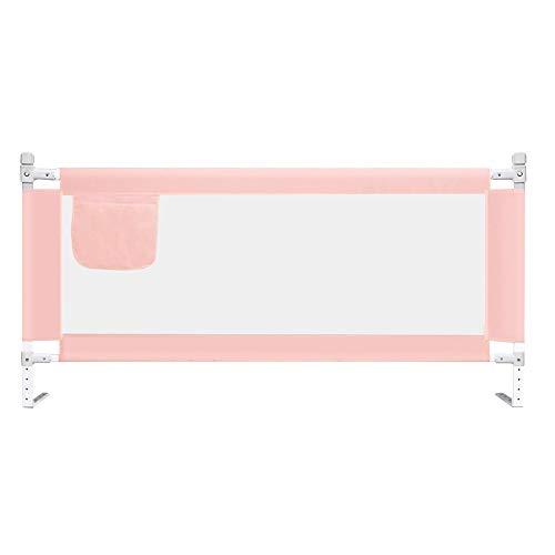 Barrera Cama Riel de Cama para Niños Pequeños, Guardia de Protección de Seguridad de Guardia de Seguridad de Cama de Malla Plegable Portátil para Bebés Y Niños-1.5/1.8/2.0m (Rosa/Azul)
