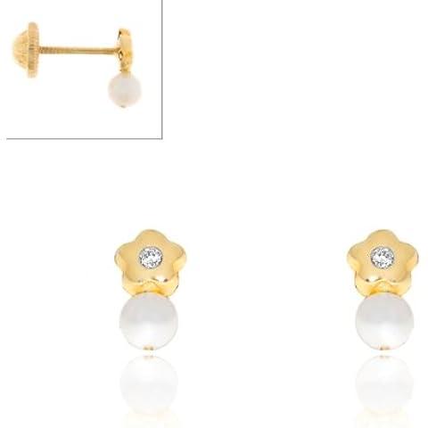 Monde Petit T1665P - Pendientes de bebe/niña oro 18 kts. de perla margarita