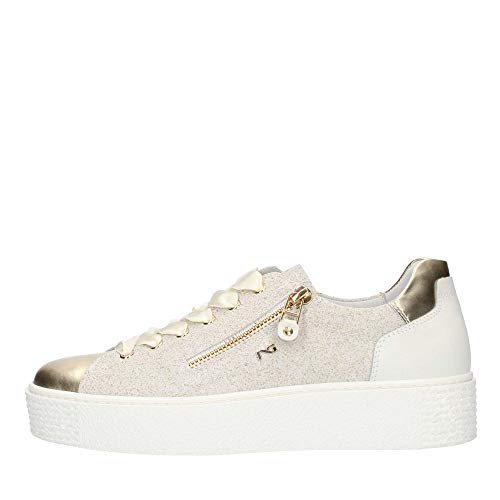 Nero Giardini Sneakers Sportive Donna in Pelle Oro e Crosta Grigia Lampo e Lacci in Raso (Taglia 35)
