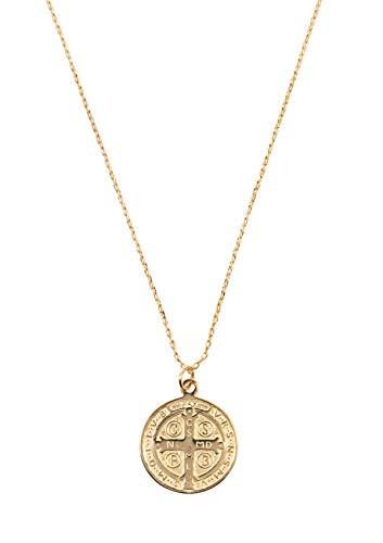 Mintever Damen Lange Kette mit Münzanhänger in Goldfarbe   Zarte Kette mit Vintage Münze Sterlingsilber Schmuck