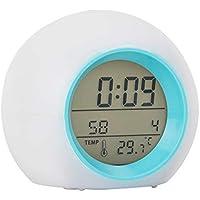 Lanker Reloj Despertador para Niños - con Visualización De La Temperatura del Calendario del Reloj De Tiempo, Luz Cambiante De Color Suave Y 6 Sonido Natural - AC01