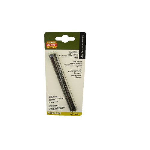Proxxon 28741 Standard-Feinschnitt-Sägeblätter mit Querstift grob verzahnt, 12 Stück