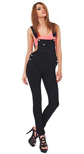 Fashion4Young Damen Latzhose Hose pants mit Träger Röhren Jeans 5 Größen (S = 36, Schwarz)
