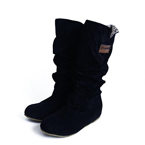 Hkfv splendida Charming High Class nero donna, al ginocchio, tacco piatto nubuck stivali da autunno inverno scarpe attraente fascino Keep Warming Foot, 6.5 3