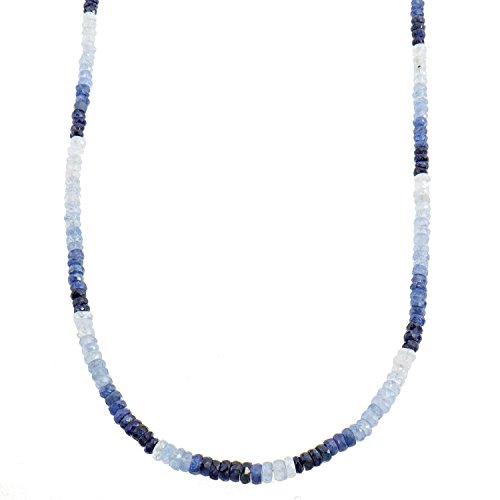 Harry Ivens Damen-Collier Halskette Sterling-Silber 925 rhodiniert Saphir blau Farbverlauf 45cm (Blauen Saphir-gold-halskette)