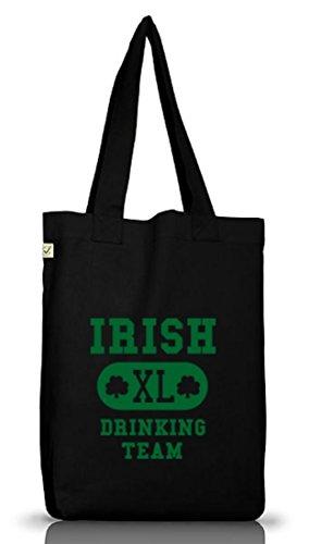 Shirtstreet24, Squadra Bevente Irlandese Xl, St. Patricks Day Jutebeutel Stoff Tasche Terra Positivo Nero