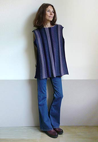 Strick Tunika dunkel blau grau verticale Streifen