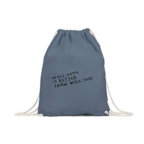 licaso Bolsa de Deporte Estampada en Colores Gym Bag con Robusto Cordel Bolsa impresión ecológica & sostenible Bolsa de Transporte 100% algodón, Color Well Done, tamaño Gris