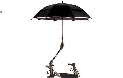 MPB® Rollatorschirm passend für Rollator DIETZ TAIMA sowie DRIVE TORRO, schwarzes Gestänge, Mikrofaser Schirm in schwarz und reflektierend (Rand und Speichen), komplett mit allem Befestigungsmaterial