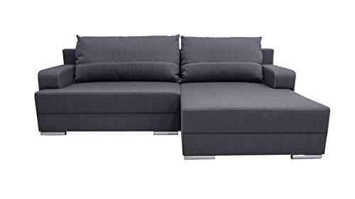 Avanti trendstore - nico - divano ad angolo in microfibra di colore antracite con funzione letto e cassettone integrato, penisola montabile su entrambi i lati. dimensioni lap 242x90x149 cm