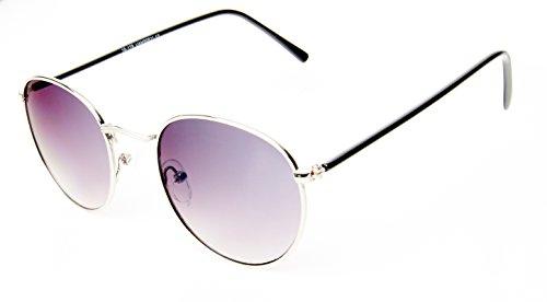 Sonnenbrille rund Gläser John Lennon Style 400UV Metallrahmen gold verspiegelt Panto silber getönt Damen Herren langer Steg rosa blau lila braun orange gelb Brillen (lila)