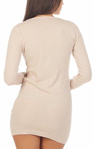 10932 Fashion4Young Damen Strickkleid Feinstrick Minikleid Pullover Longpullover Glitzer Paris Creme
