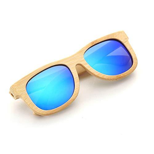 UV400 polarisierte Bambus-Sonnenbrillen/handgefertigte Gläser für Mann und Frau beim Reisen, Outdoor-Sport und Aktivitäten/als Geschenke für Freunde und Verwandte (Farbe : Blau)
