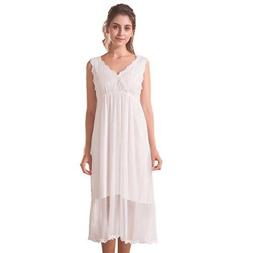 2e02c46bd7 QLX Damen Kleid Nachthemd Schlafanzüge Ärmellos Lang Absatz Dessous  Baumwolle Reine Farbe