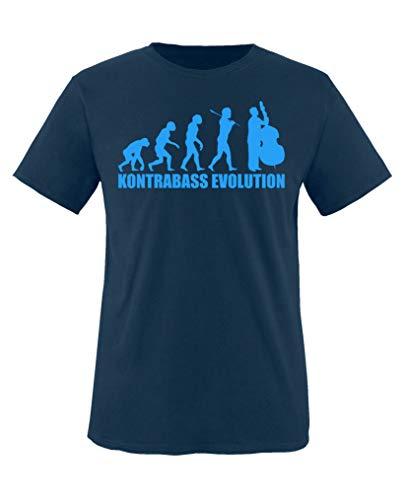 Comedy Shirts - Kontrabass Evolution - Jungen T-Shirt - Navy/Blau Gr. 86-92
