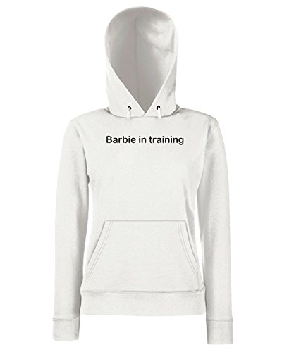 T-Shirtshock - Sweats a capuche Femme TDM00030 barbie in training Blanc