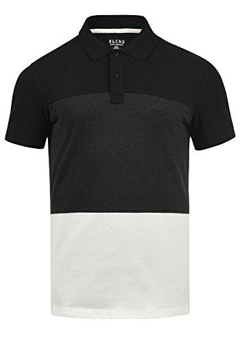 Blend Lauran Herren Poloshirt Polohemd T-Shirt Shirt Mit Polokragen 100% Baumwolle, Größe:XL, Farbe:Black (70155) -