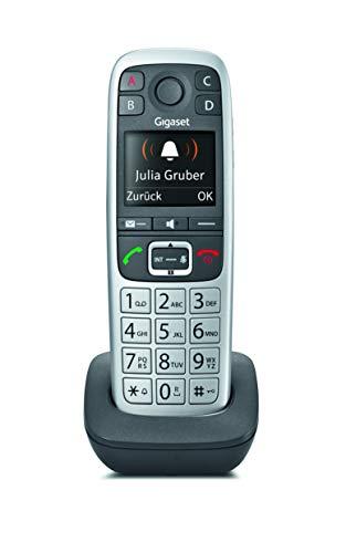 Gigaset E560 Telefon - Dect Schnurlostelefon (Mobilteil mit grossen Tasten, SOS Taste für schnelle Hilfe, gut lesbarer Farb-Display - Freisprechfunktion - Analog Telefon) silber/schwarz