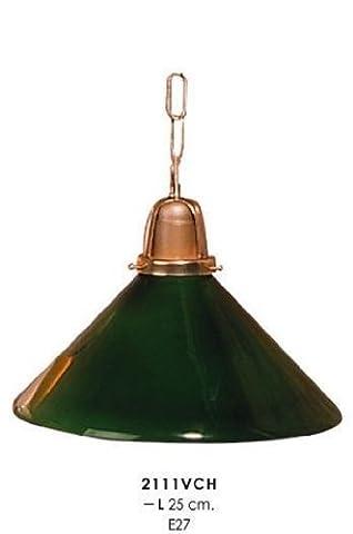 Klassische Pendelleuchte im Landhausstil Grün/Gold, Durchmesser 25 cm, Leuchte Lampe