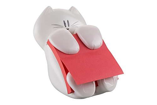 Post-it Cat-330 Super Sticky Z-Notes Spender in Katzen-Form, inkl. 1 Block Post-it Super Sticky Z-Notes, weiß