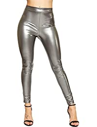 ca1968cc789e6 ER Traders Ltd Womens Vinyl Leggings Ladies Skinny High Waisted Shiny PVC Wet  Look Disco Tights