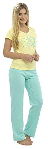 Tom Franks Damen Schlafanzug-Set Strampelanzug, Slogan Gelb - Yellow / Moon