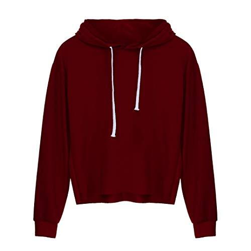 Ningsun moda hoodies, donna tumblr manica lunga tinta unita o-neck cappuccio felpa camicetta stampa casual tops felpa con cappuccio pullover sweatshirt(rosso,s)