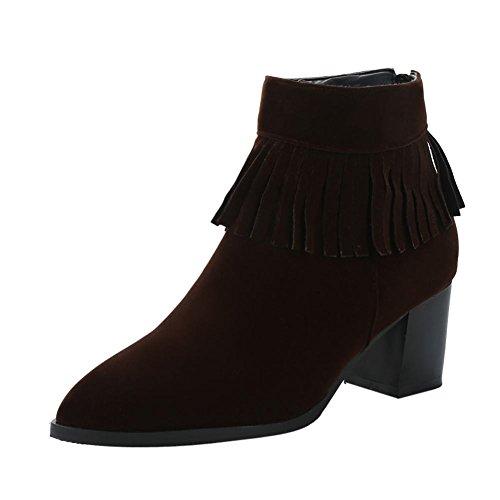 Senhoras Robustos Zipper Sapatos Borla De Com Saltos Tornozelo Botas Marrom Mee awZHqBCx