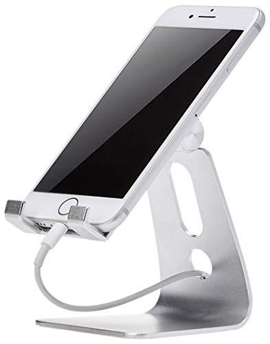 AmazonBasics - Verstellbarer Handy-Ständer für iPhone und Android | Silberfarben
