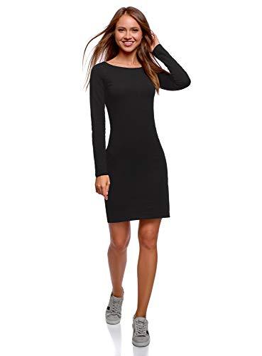 oodji Ultra Damen Enges Kleid Basic, Schwarz, DE 34 / EU 36 / XS