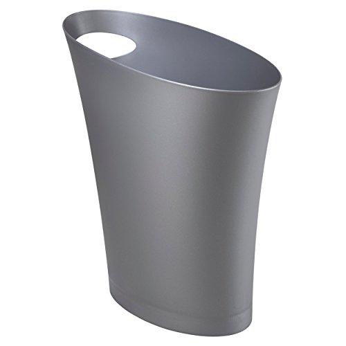 Umbra Skinny Abfalleimer – Kleiner & stylischer Badezimmer Mülleimer, Schlanker Papierkorb für kleine Räume in Ihrem Zuhause oder Büro, 7,5 l Fassungsvermögen, Kunststoff/Silber