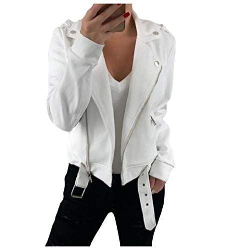 Energy Womens Fashion Bomber Parka Outwear Zip Solid Turn-down Collar Jacket White XL -