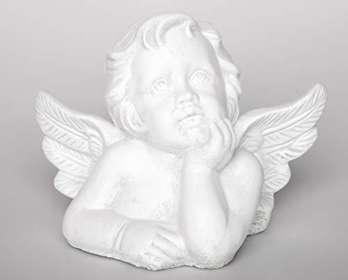 Tiefes Kunsthandwerk Steinfigur Engel groß - Antik-Weiss, Figur Deko Grabschmuck Garten Putte (Besseren Engel Unserer Natur)