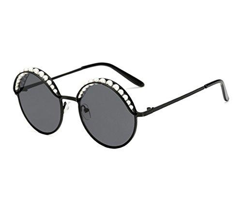 Damenmode Vintage nicht polarisierte Runde Brille Perle Wimpern