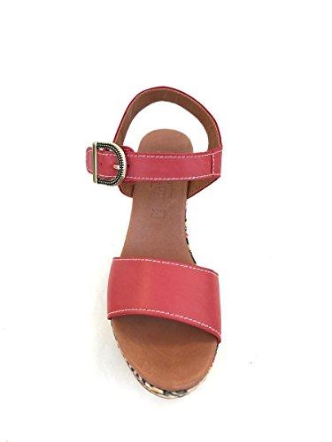 Sandali con tacco Dvbir62 in pelle ricamati Divine Follie MainApps Rosso
