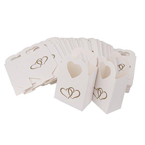 50x Bomboniere Scatole Caramelle Regalo Di Nozze Borse Baby Shower Festa Di Anniversario - Bianco