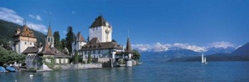 The Poster Corp Panoramic Images - Oberhofen Castle w Thuner Lake Switzerland Photo Print (91,44 x 30,48 cm) - Oberhofen Castle