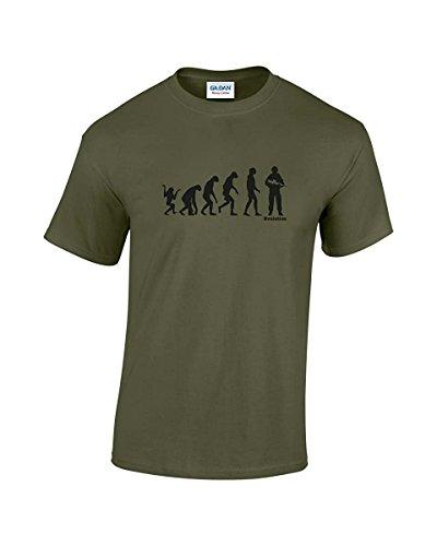 Evolution Of Man, soldato Funny T-Shirt Verde oliva