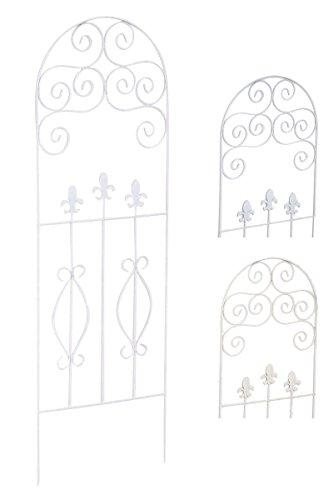 CLP Treillage de Plantes Kaya en Métal Massif avec Design Nostalgique - Support pour Fleurs et Plantes Grimpantes Taille 120x40 cm - Tuteur Autonome pour Roses ou Lierre à Planter au Sol Blanc
