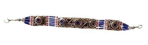 che Silber Link Armband In blau Lapis Lazuli & rote Koralle Edelstein für Frauen & Männer, einzigartige Gypsy Tribal Boho Vintage buddhistische Mode Armband Schmuck von Handwerker ()