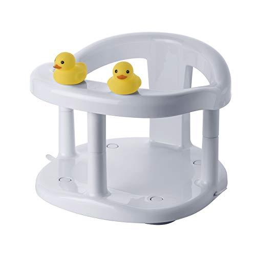 SARO - Badesitz Baby mit Entenhauben - Baby Badewanneneinsatz - Badesitz mit Saugnäpfen und rutschfester Oberfläche - Grau