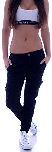 Damen Boyfriend Jeans Cargohose Cargo Hose Baggy Haremshose Chino XS 34 S 36 M 38 L 40 XL 42 (S 36) (M 38, Schwarz)