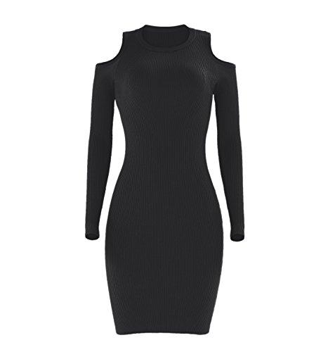 Caldo a Maniche Lunghe Collo Alto Spalle Scoperte a coste Mini Bodycon Aderente Fasciante Sweater Maglione Maglia Vestito Abito Nero